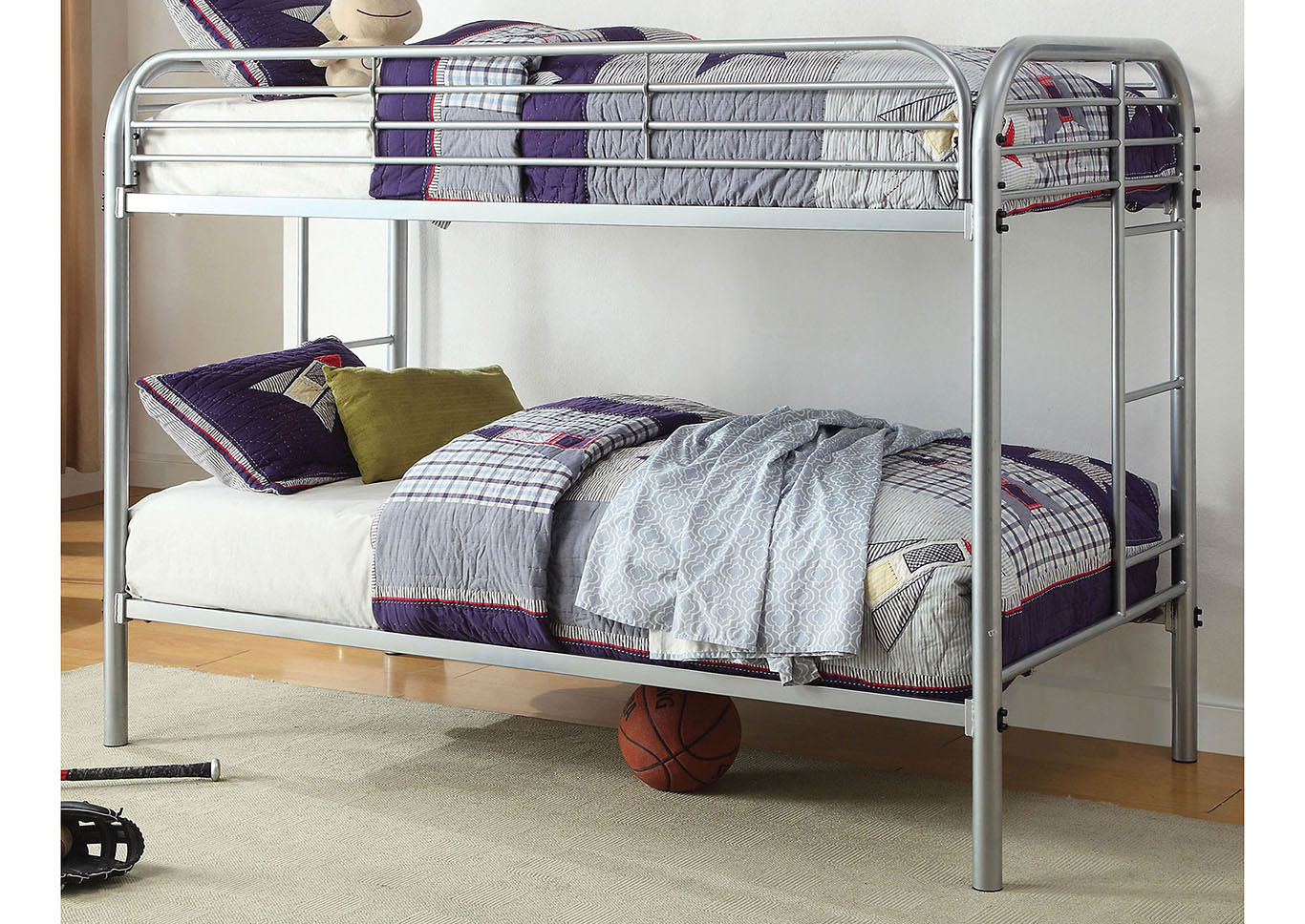 Opal Silver Twin/Twin Metal Bunk Bed,Furniture of America