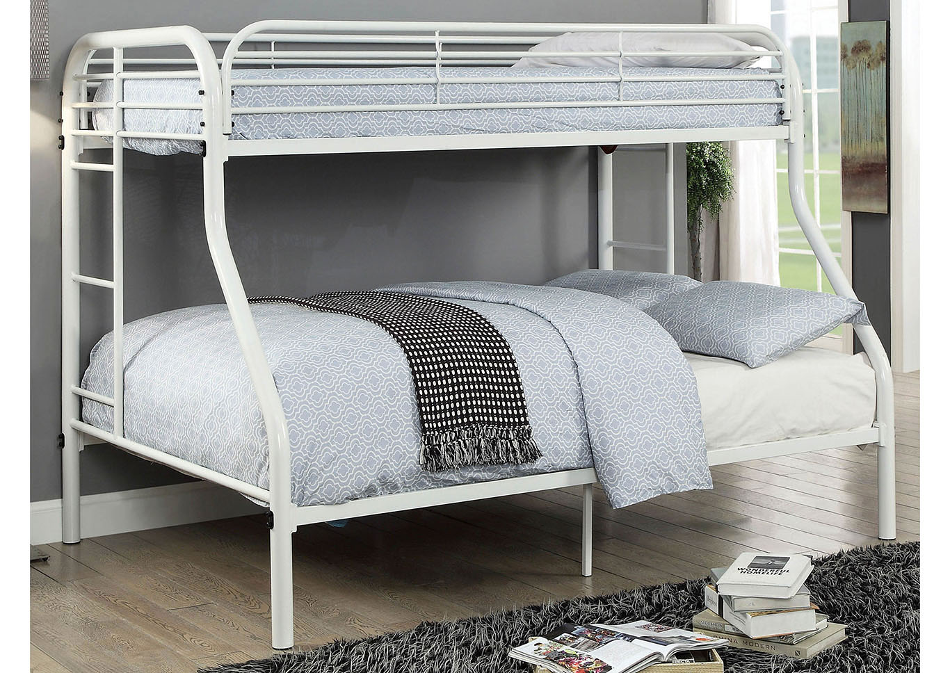 Opal White Twin/Full Metal Bunk Bed,Furniture of America