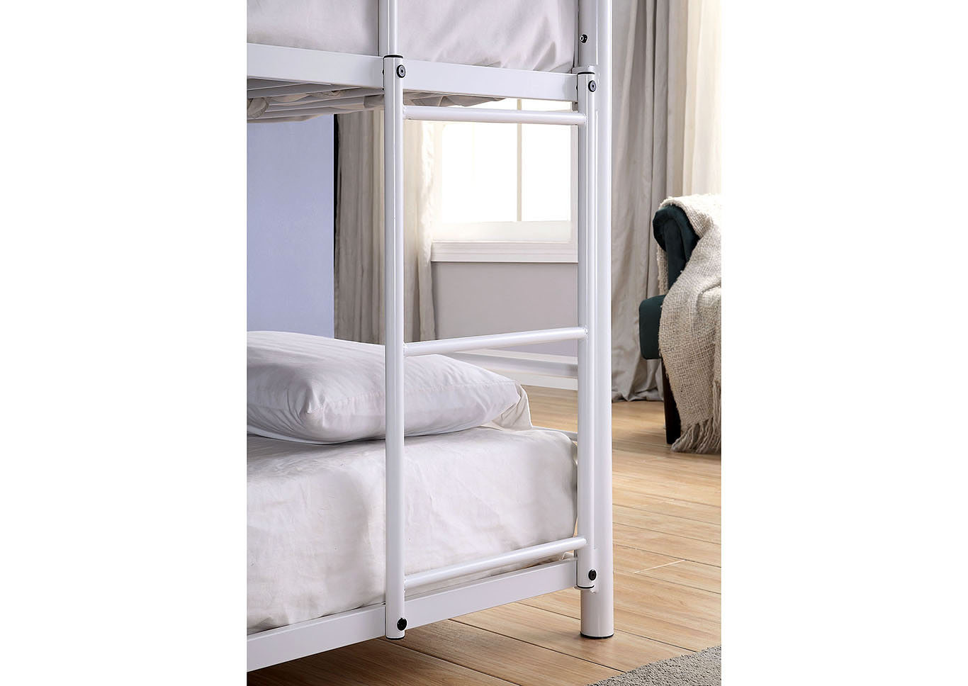 Opal II White Twin/Twin/Twin 3-Tiered Bunk Bed,Furniture of America
