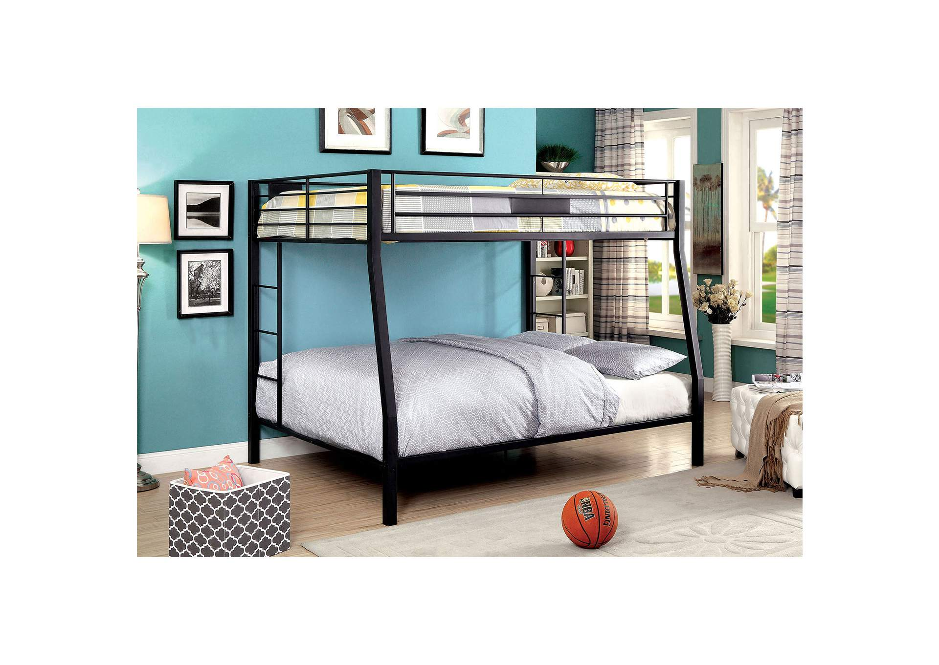 Claren Black Full/Queen Bunk Bed w/Ladder,Furniture of America