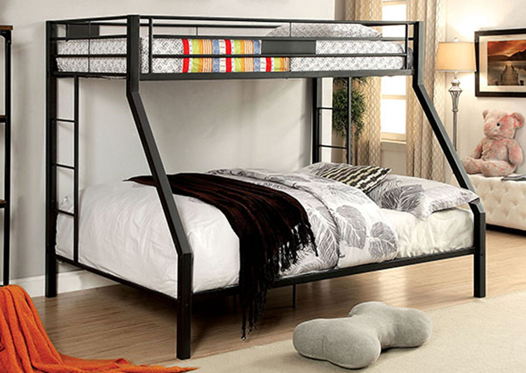 Claren Black Queen/Queen Bunk Bed w/Ladder,Furniture of America