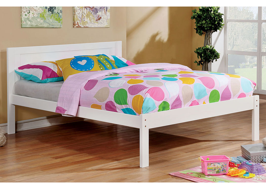 Annemarie White Full Platform Bed,Furniture of America