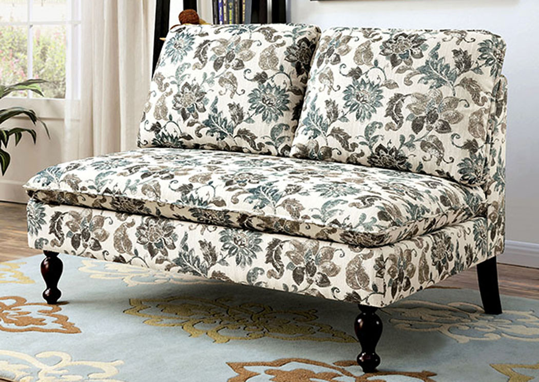 Kenzie Floral Loveseat Bench,Furniture of America