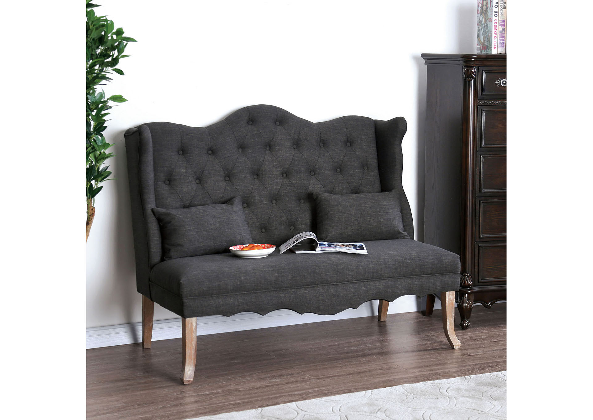 Donnelly Gray Linen Love Seat w/Pillows,Furniture of America