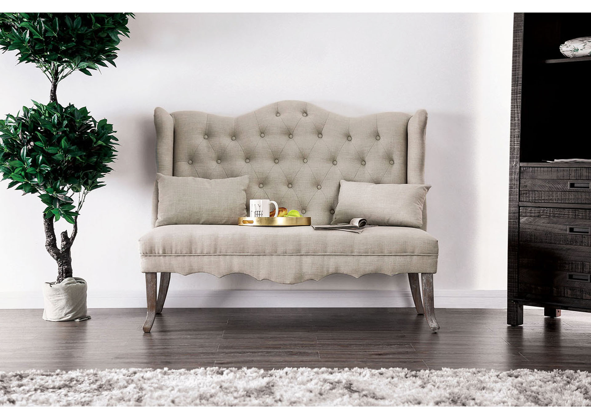 Donnelly Ivory Linen Love Seat w/Pillows,Furniture of America