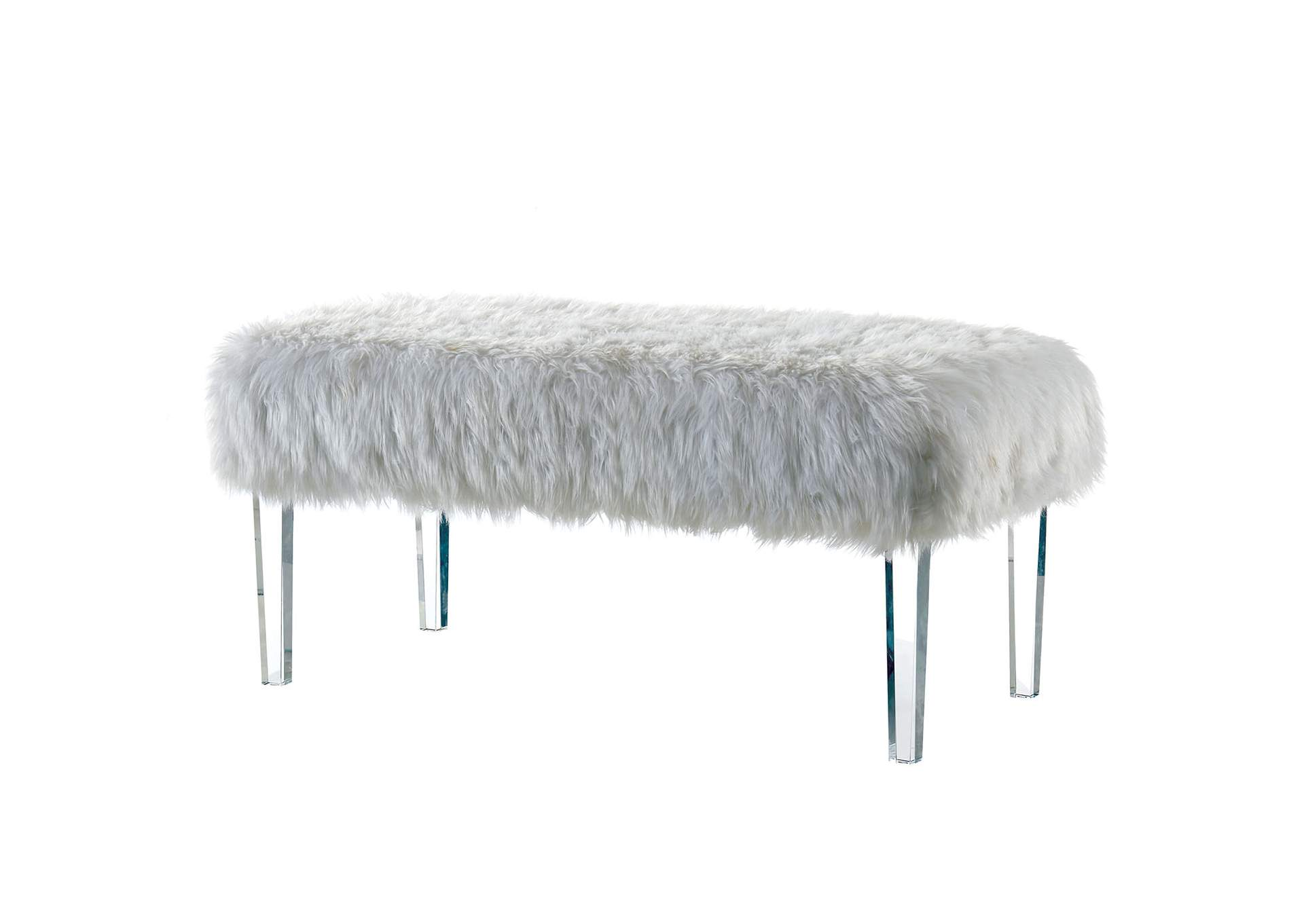 Pleasing 944292 Zyana White Faux Fur Bench W Acrylic Legs Squirreltailoven Fun Painted Chair Ideas Images Squirreltailovenorg