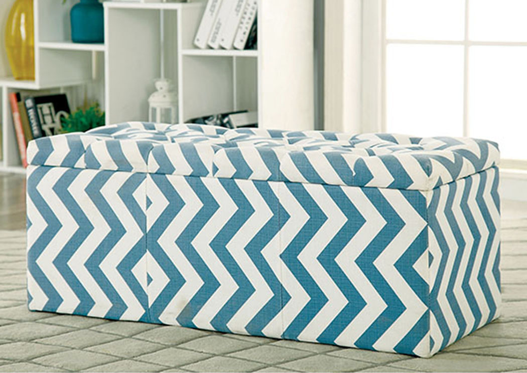 Magnificent 279426 Zahra L Blue Chevron Pattern Storage Ottoman Andrewgaddart Wooden Chair Designs For Living Room Andrewgaddartcom
