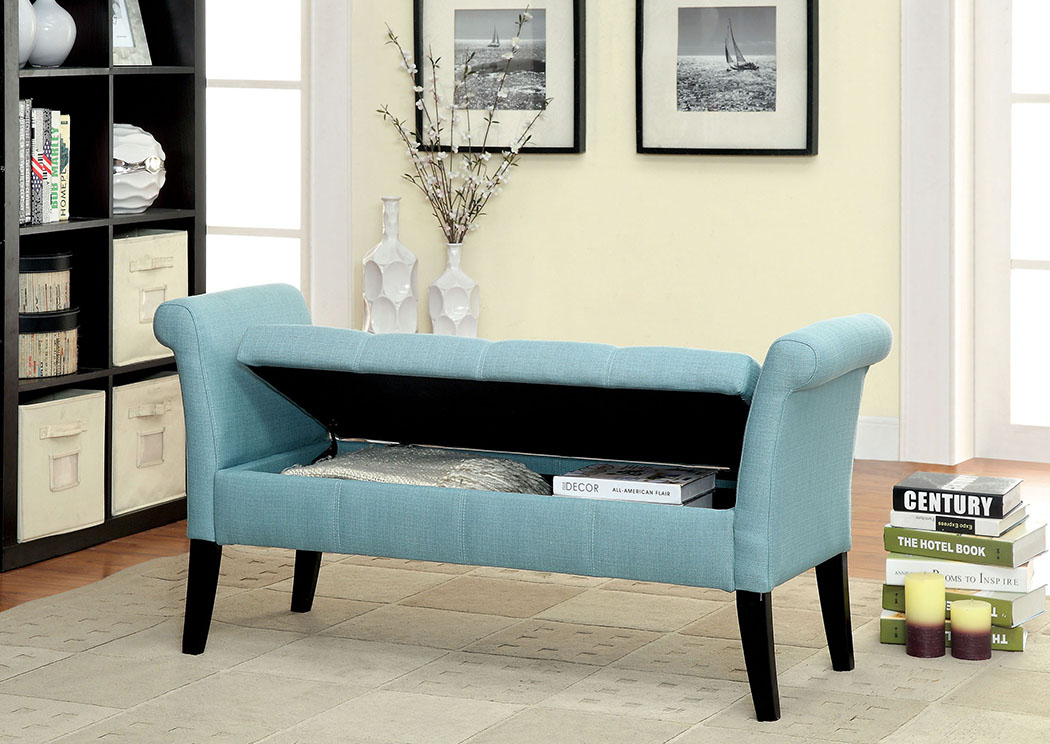 Doheny Blue Fabric Storage Bench,Furniture of America