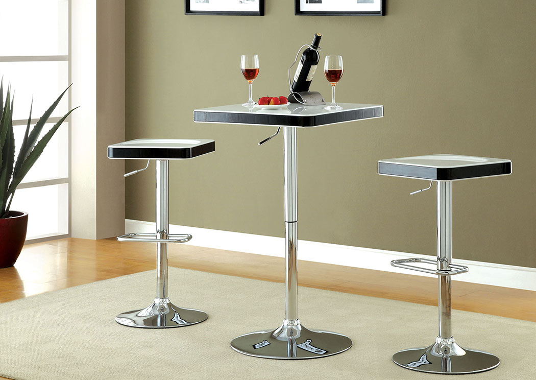 Veria White Top Bar Table w/Height Adjustable Chrome Leg,Furniture of America
