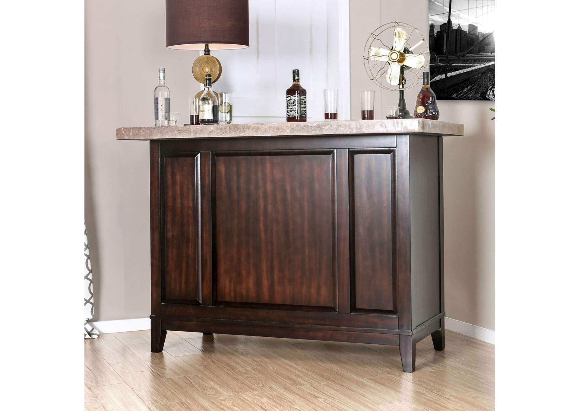 Bismark Espresso Bar Table w/Genuine Marble Top & Open Back Storage,Furniture of America