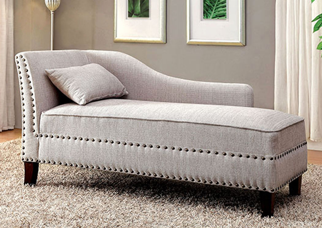 Stillwater Beige Chaise w/Pillow,Furniture of America