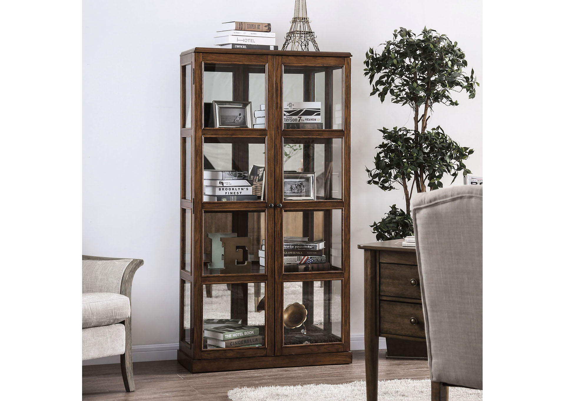 Vilas Oak Curio Cabinet,Furniture of America