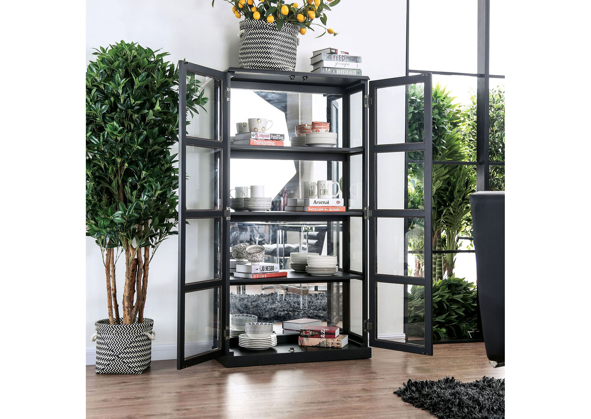 Vilas Black Curio Cabinet,Furniture of America