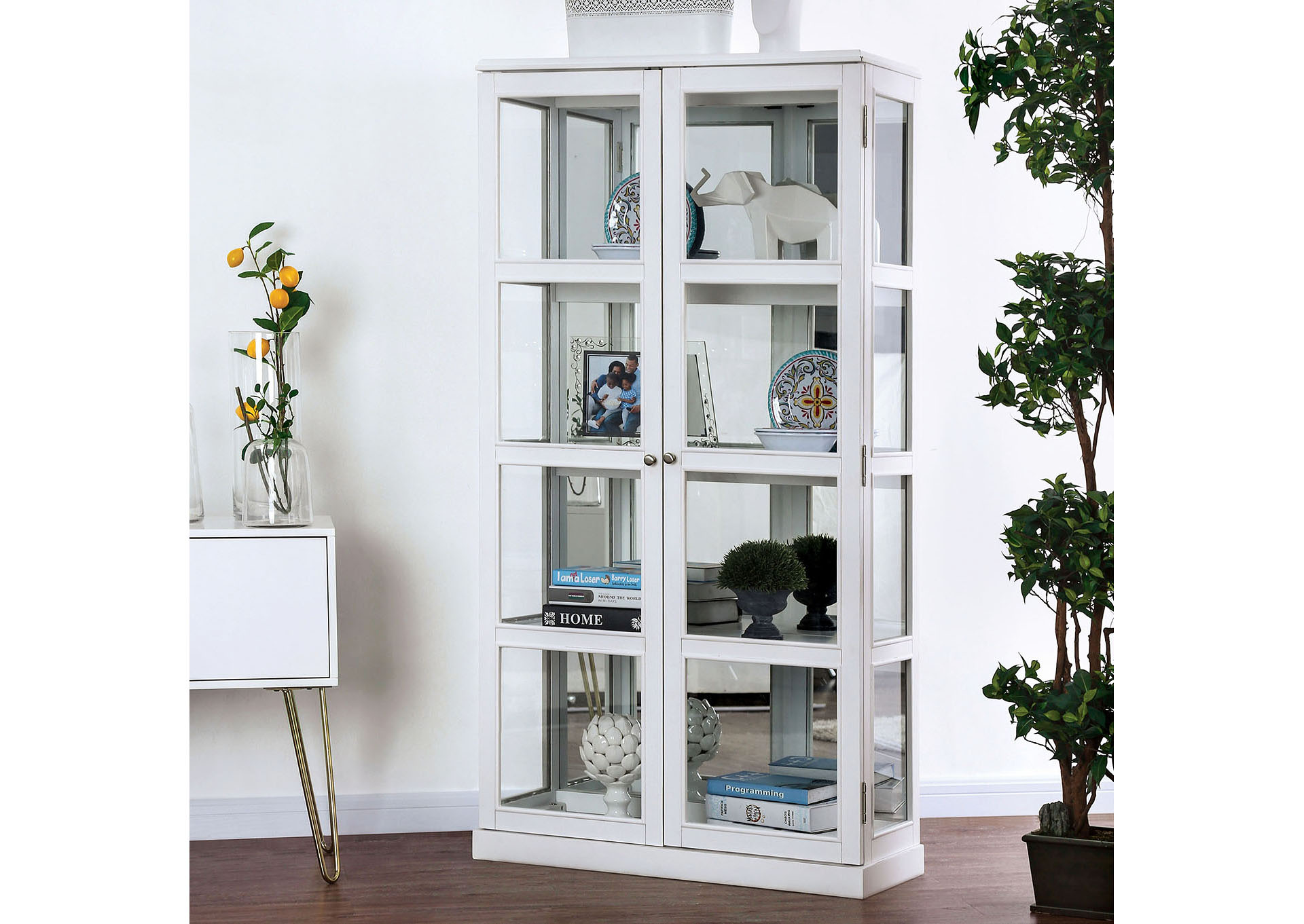 Vilas White Curio Cabinet,Furniture of America
