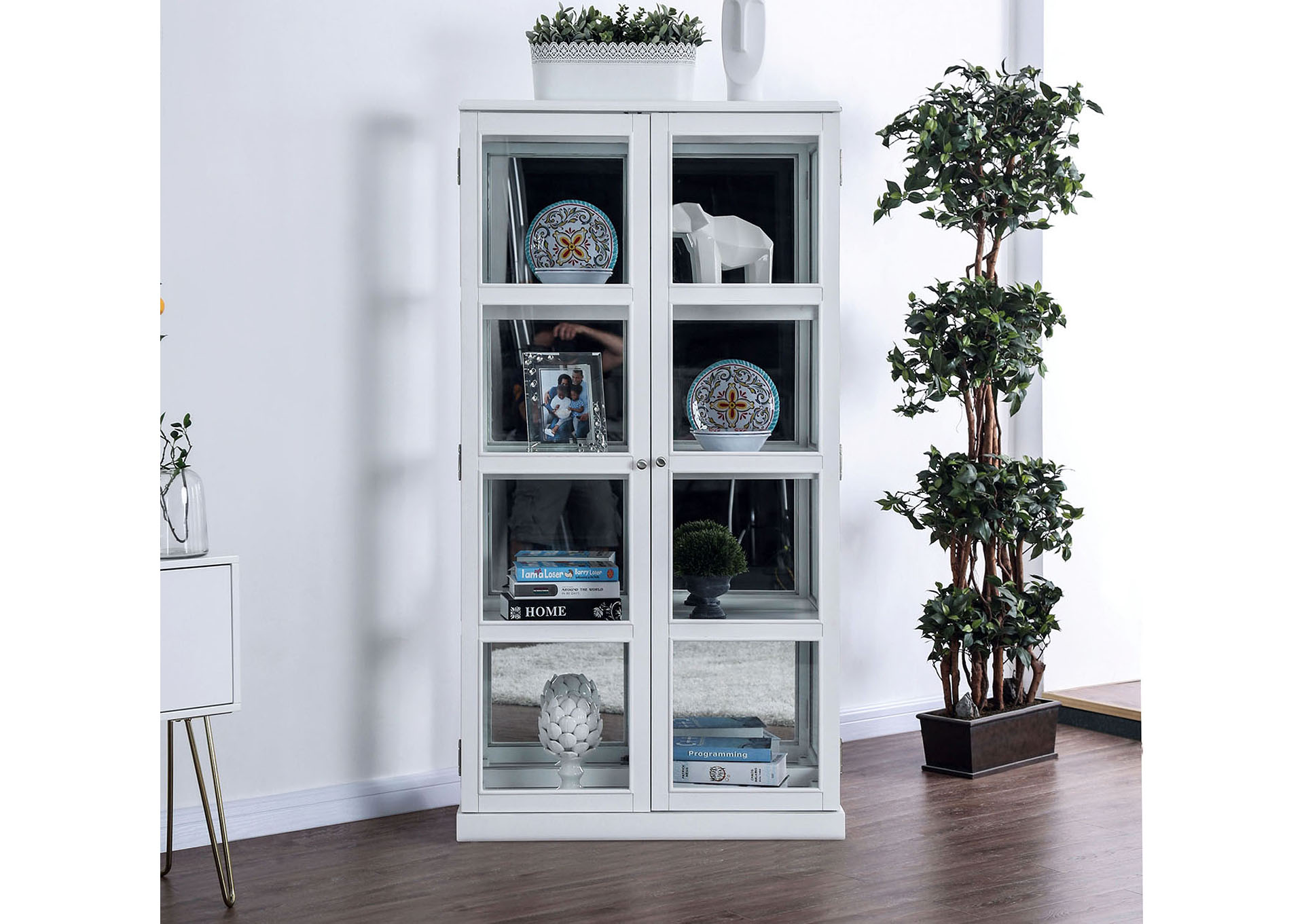 Vilas White Curio Cabinet,Furniture of America TX