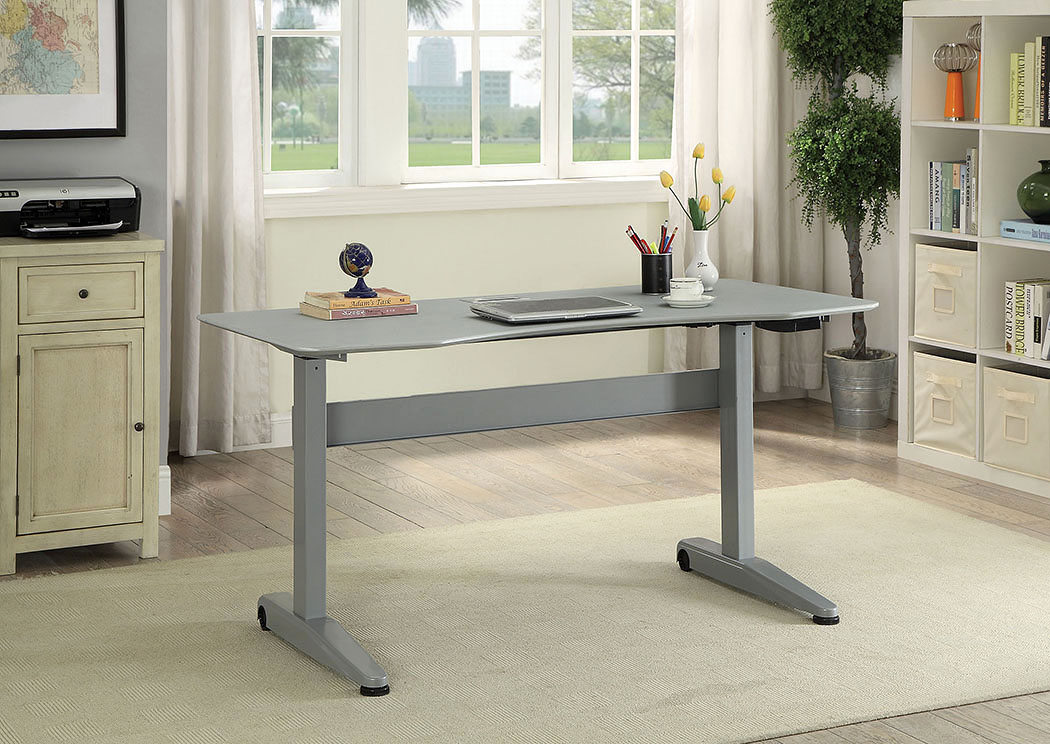 Kilkee Gray Adjustable Height Large Desk,Furniture of America