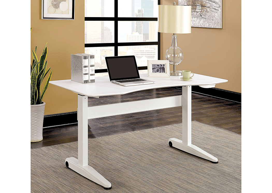 Kilkee White Adjustable Height Large Desk Best Buy Furniture and