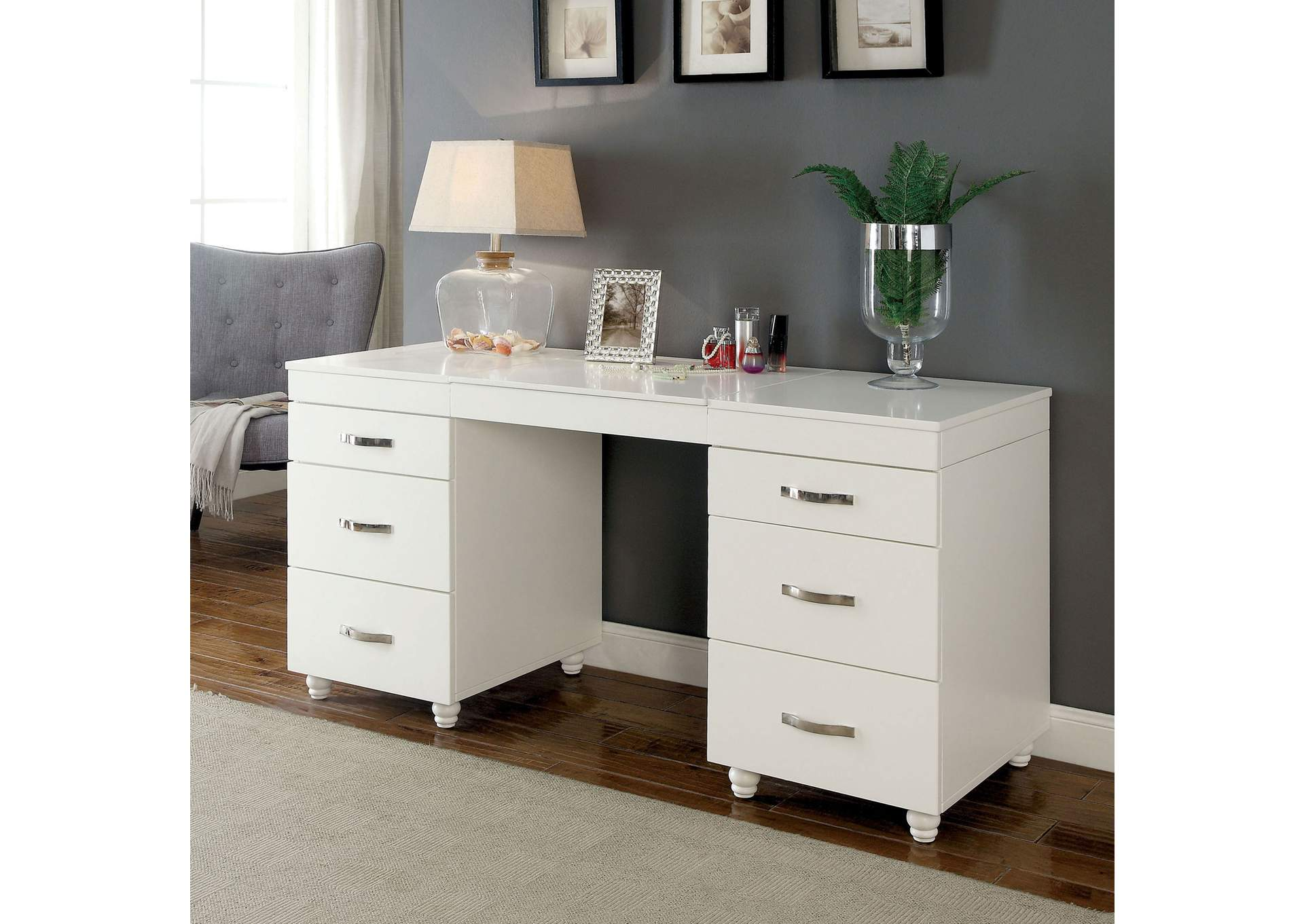 Verviers White Vanity Desk,Furniture of America