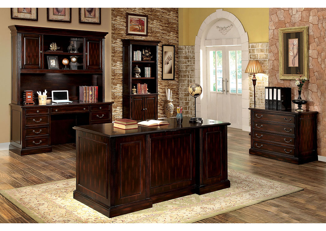 Coolidge Cherry Credenza Desk w/Hutch,Furniture of America