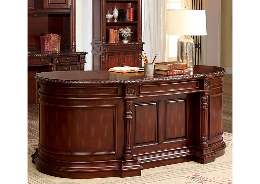Roosevelt Cherry Oval Office Desk,Furniture of America