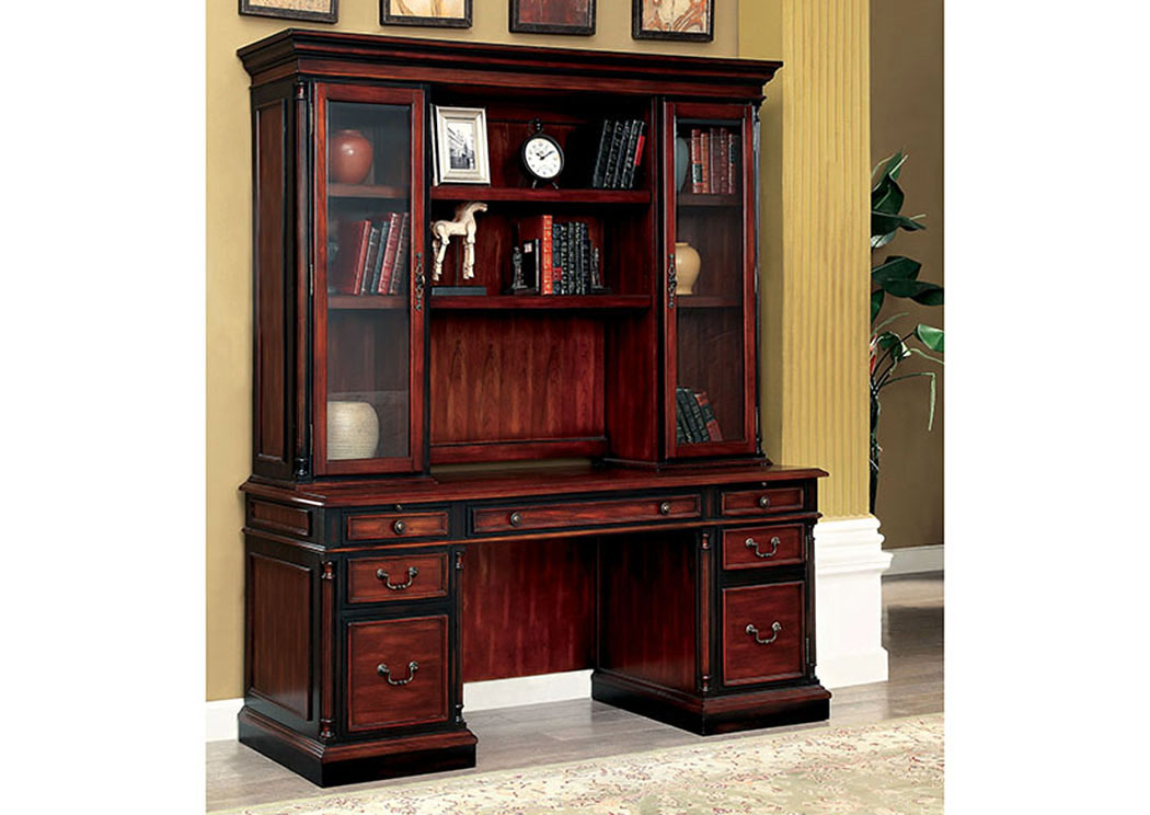 Strandburg Cherry & Black Credenza Desk w/Hutch,Furniture of America