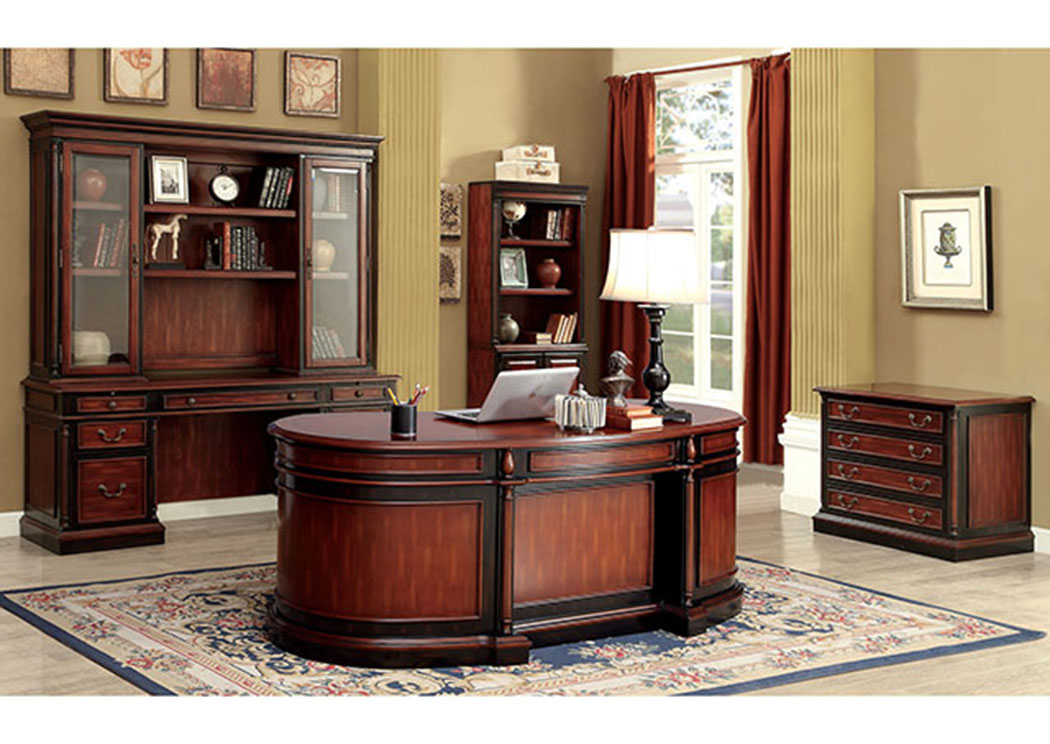 Strandburg Cherry/Black Oval Office Desk,Furniture of America