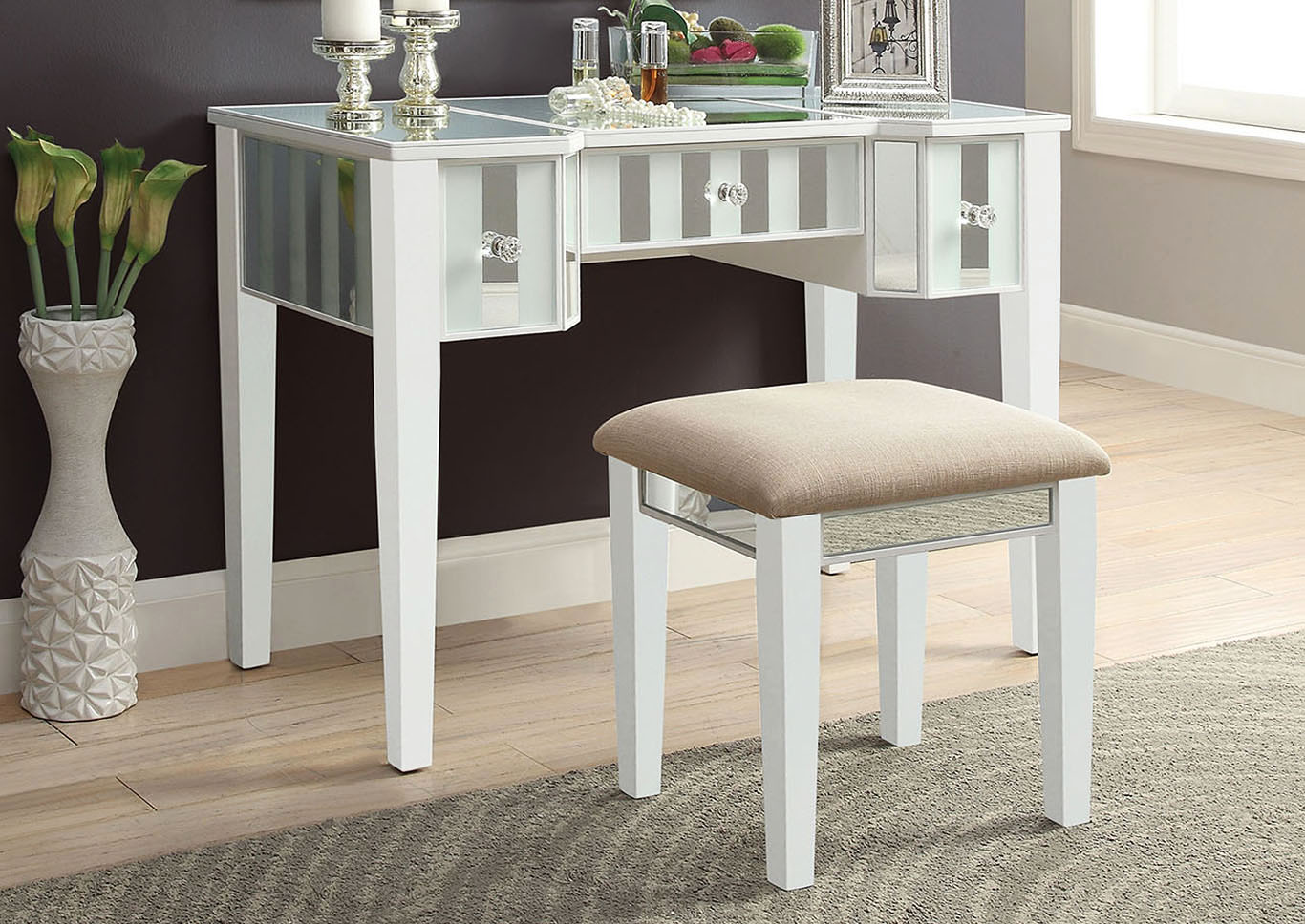 Joyce White Vanity w/Stool,Furniture of America
