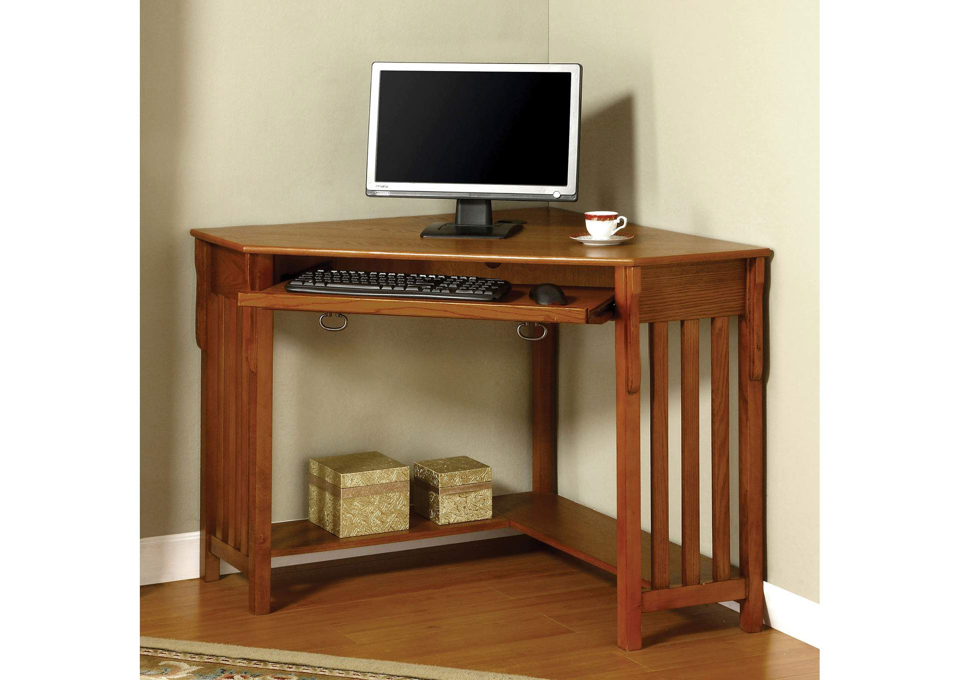 Toledo Brown Corner Desk,Furniture of America