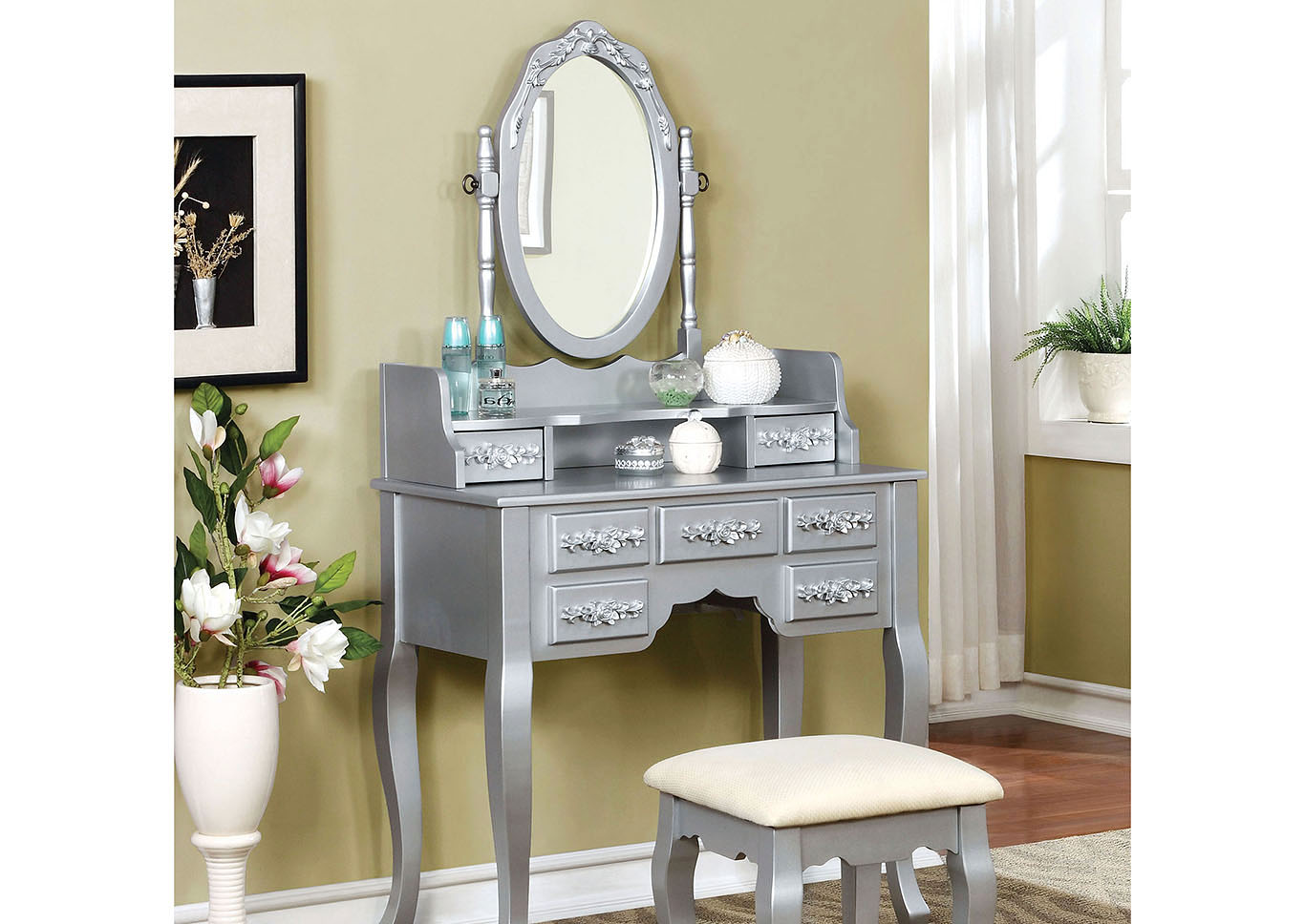 Harriet Silver Vanity w/Stool,Furniture of America