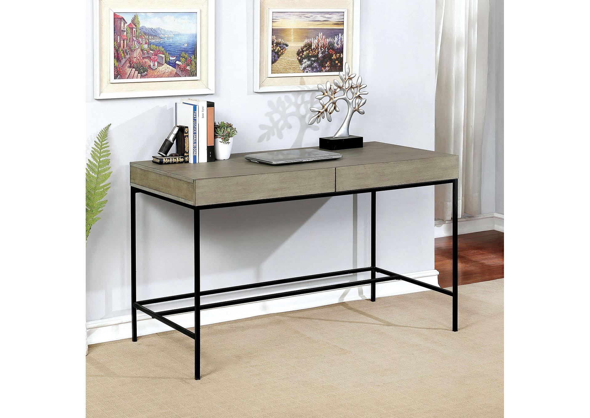 Ideal Furniture Austell Twain Light Gray Desk W Hidden Drawer