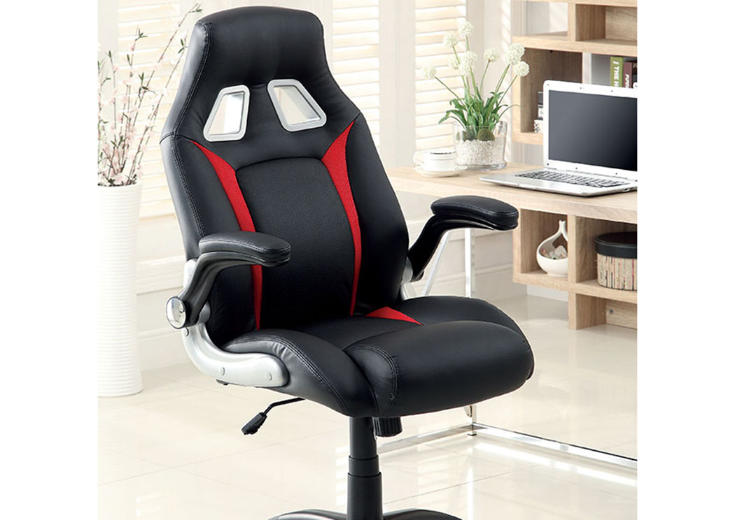 Argon Black/Sliver/Red Leatherette Office Chair w/Adjustable Height,Furniture of America