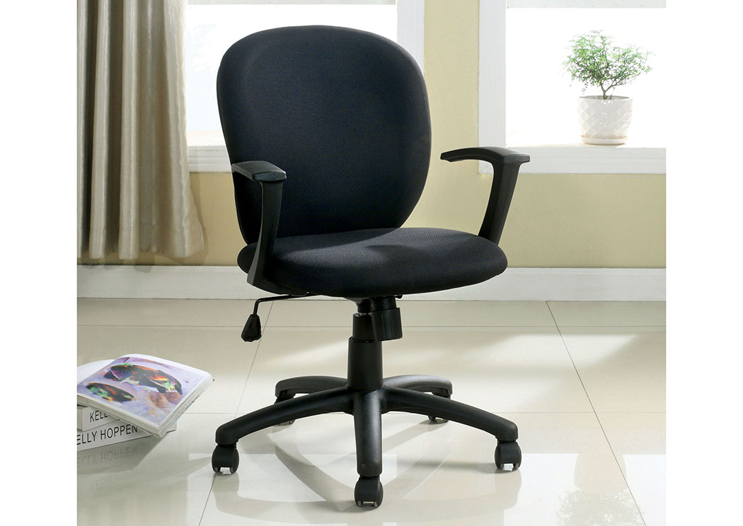 Polloc Black Fabric Office Chair w/Adjustable Height,Furniture of America