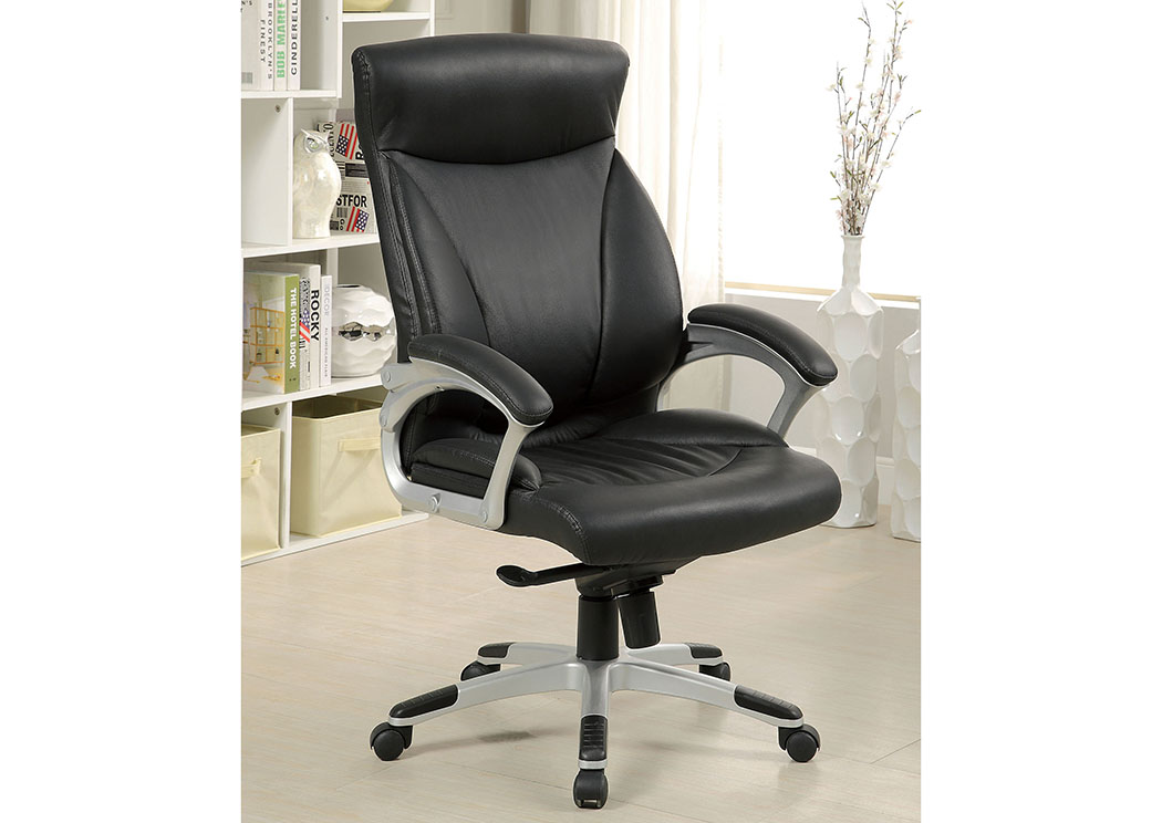Orsik Black Top Grain Leather Office Chair w/Pneumatic Adjustable Height,Furniture of America