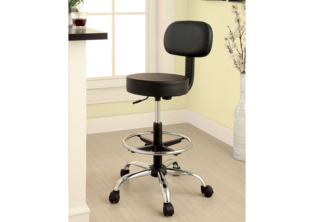 Roslyn Black/Chrome Padded Leatherette Office Chair w/Pneumatic Adjustable Height,Furniture of America