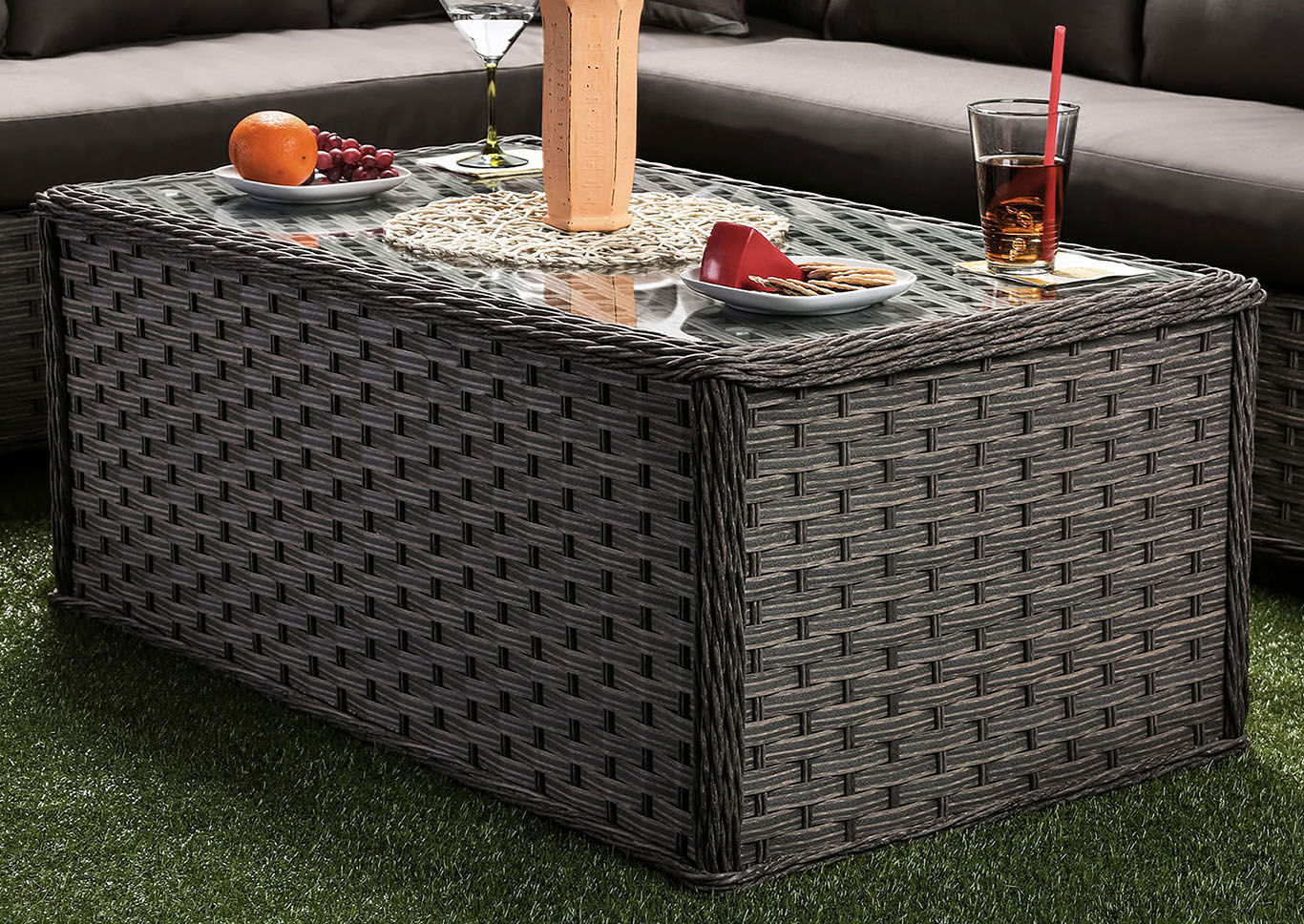 Moura Mocha Wicker Patio Table w/Glass Top,Furniture of America