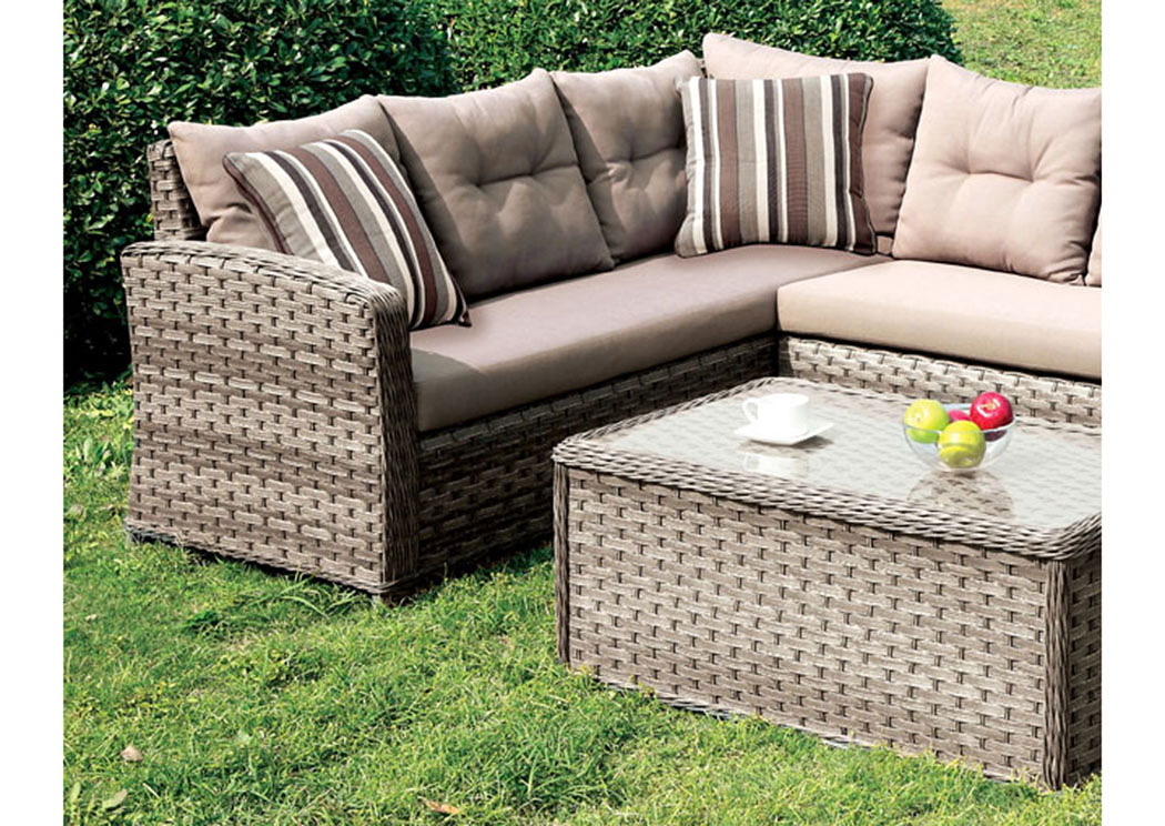 Moura Mocha Wicker Patio Sectional w/Pillows,Furniture of America