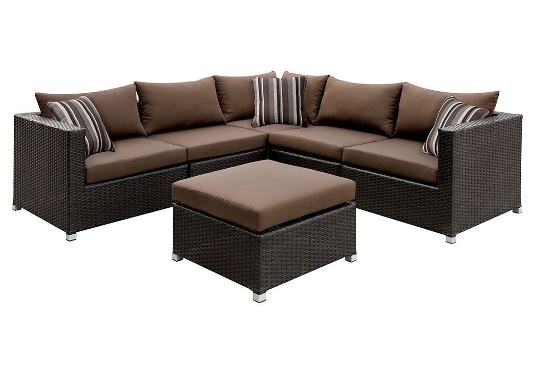 Abion Brown/Espresso Patio Sectional Set w/Ottoman & Accent Pillows,Furniture of America