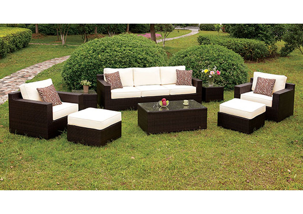 Helina White 8 Piece Patio Sofa Set,Furniture of America