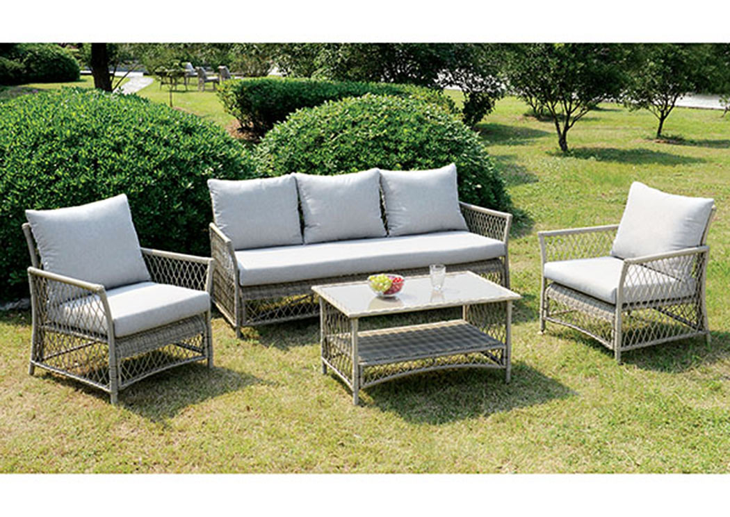 Jacquelyn Light Gray 4 Piece Patio Seating Set,Furniture of America