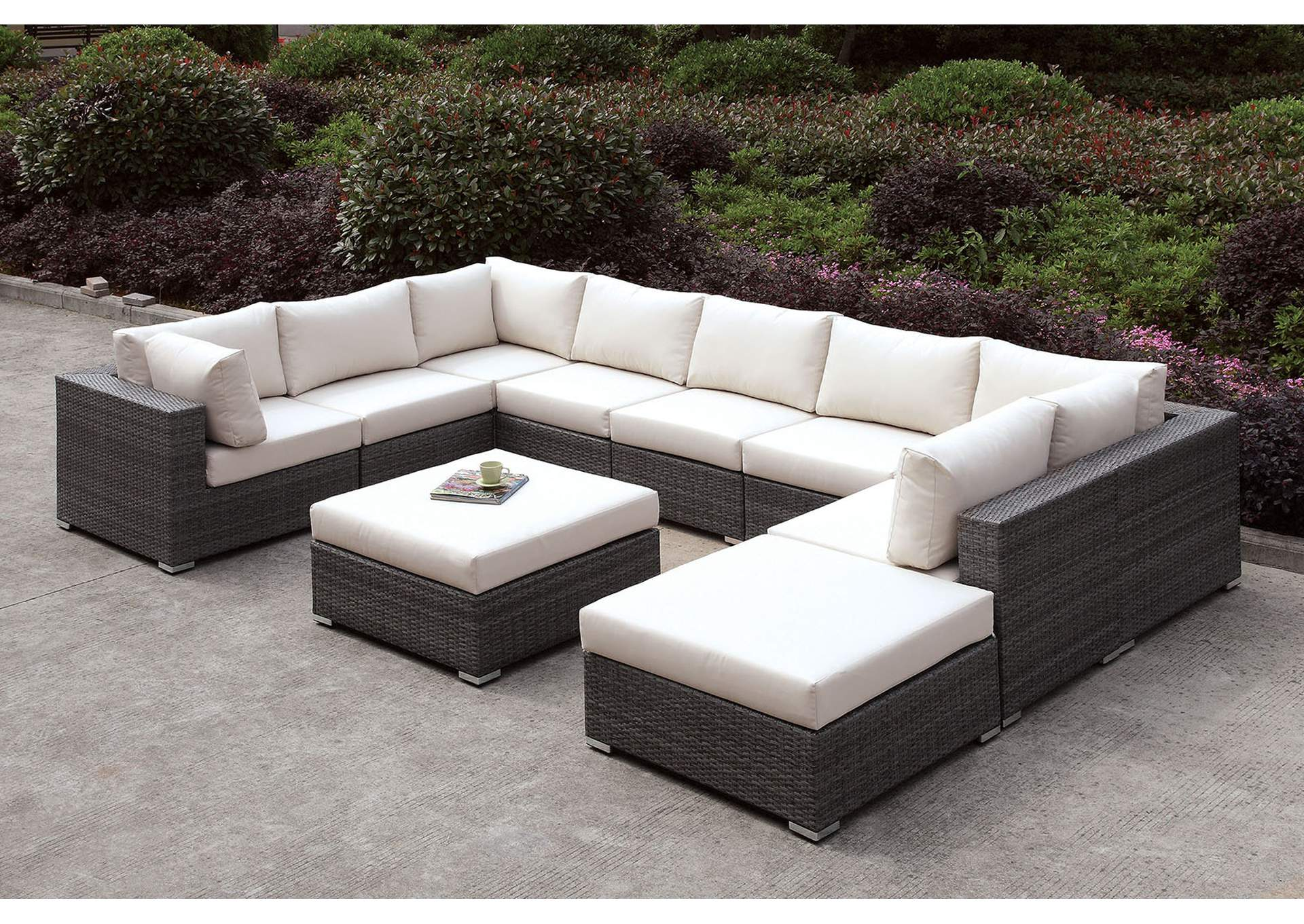 Pleasant Harlem Furniture Somani Light Gray Ivory Wicker U Sectional Gmtry Best Dining Table And Chair Ideas Images Gmtryco