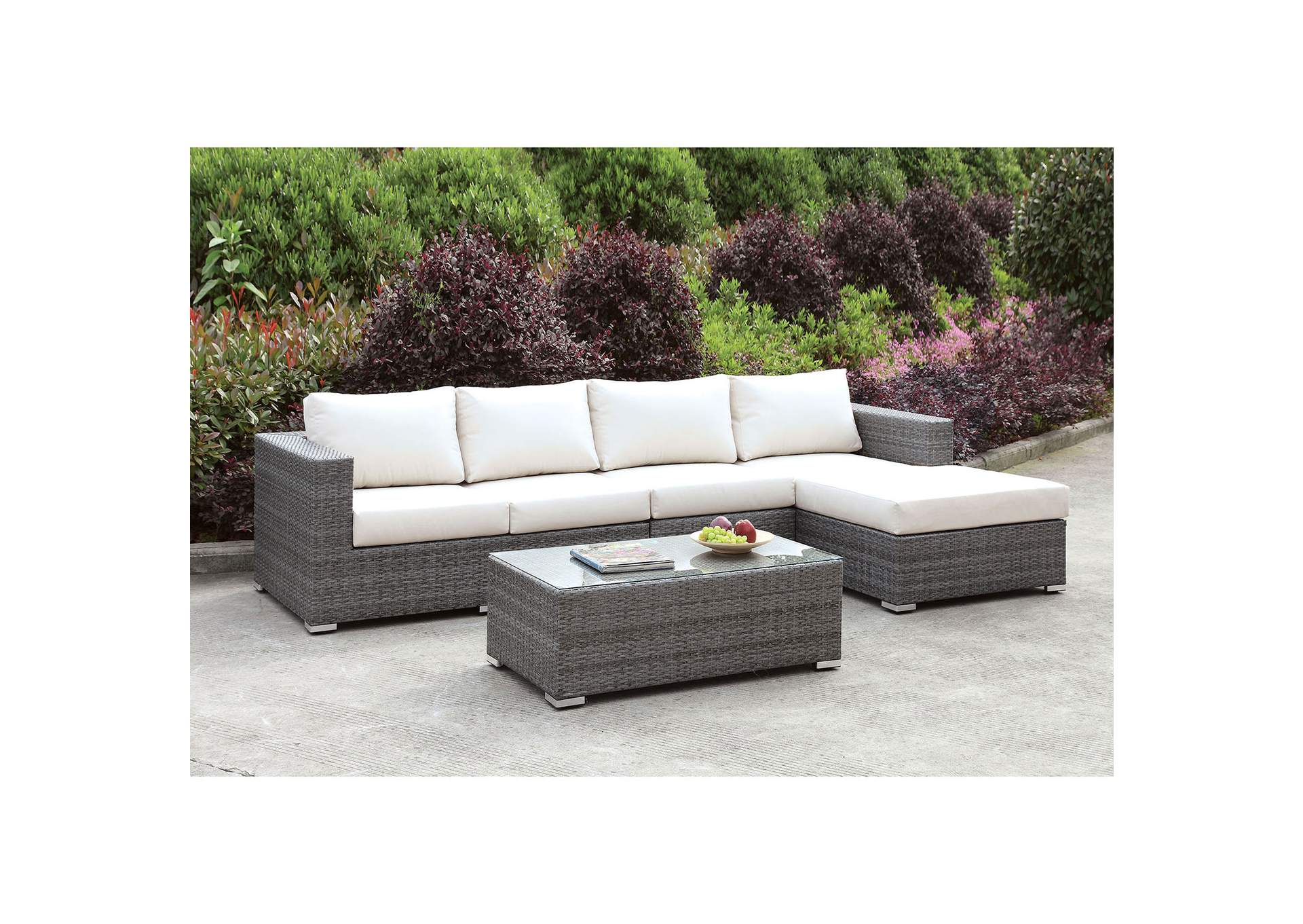 Somani Light Gray/Ivory Wicker L-Sectional w/Right Chaise & Coffee Table,Furniture of America