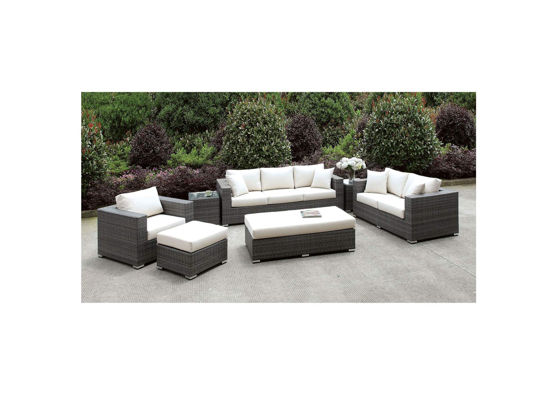 Somani Light Gray/Ivory Wicker 3 PC Patio Set (2 End Tables, Ottoman & Bench),Furniture of America