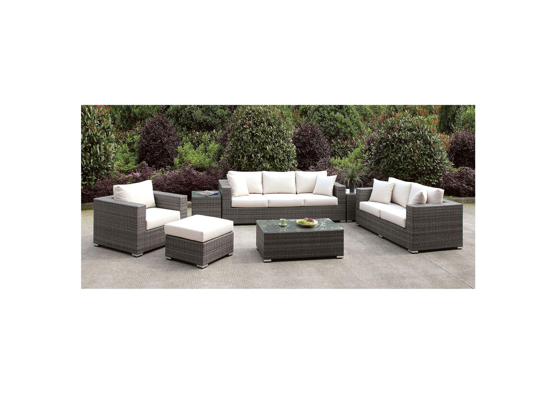 Somani Light Gray/Ivory Wicker 3 PC Patio Set (Ottoman Bench u0026 2  sc 1 st  Samaritan Furniture & Samaritan Furniture Somani Light Gray/Ivory Wicker 3 PC Patio Set ...