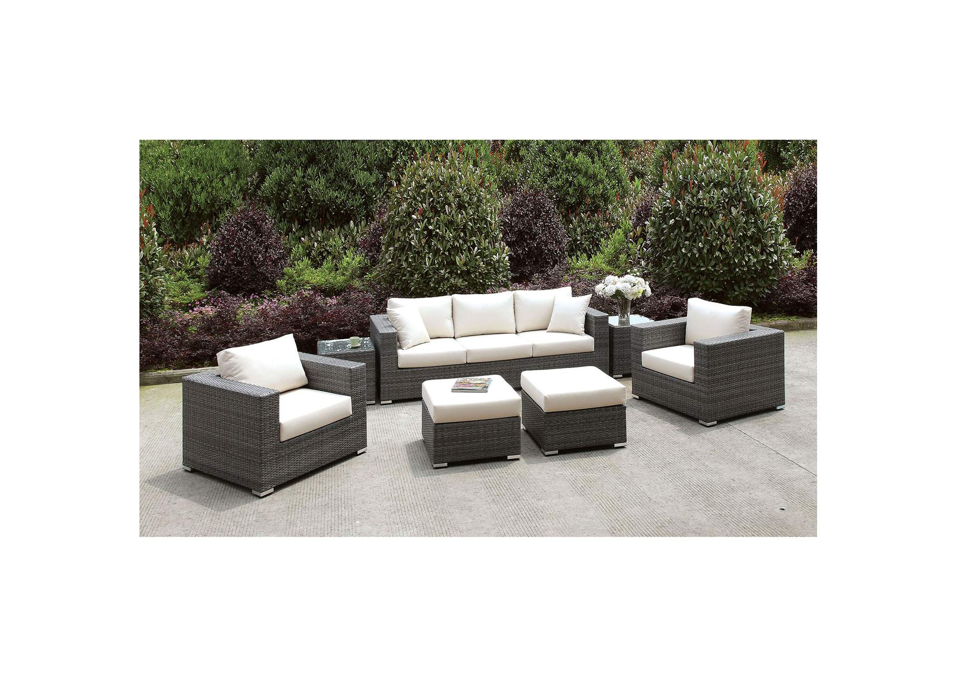 Somani Light Gray/Ivory Wicker Patio Set (Sofa, 2 Chairs, 2 End Tables & 2 Small Ottomans),Furniture of America
