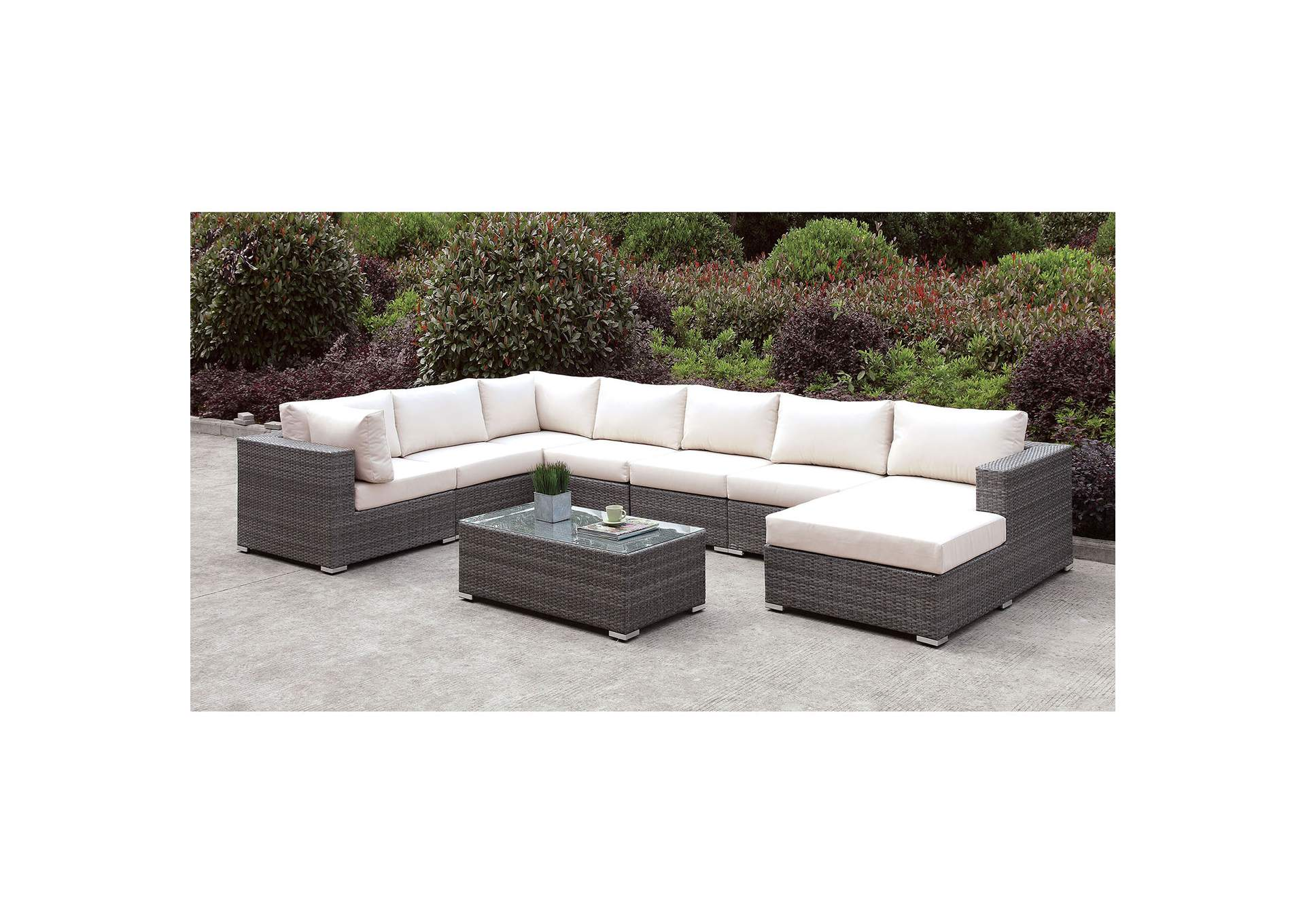 Somani Light Gray/Ivory Wicker U-Sectional w/Coffee Table,Furniture of America