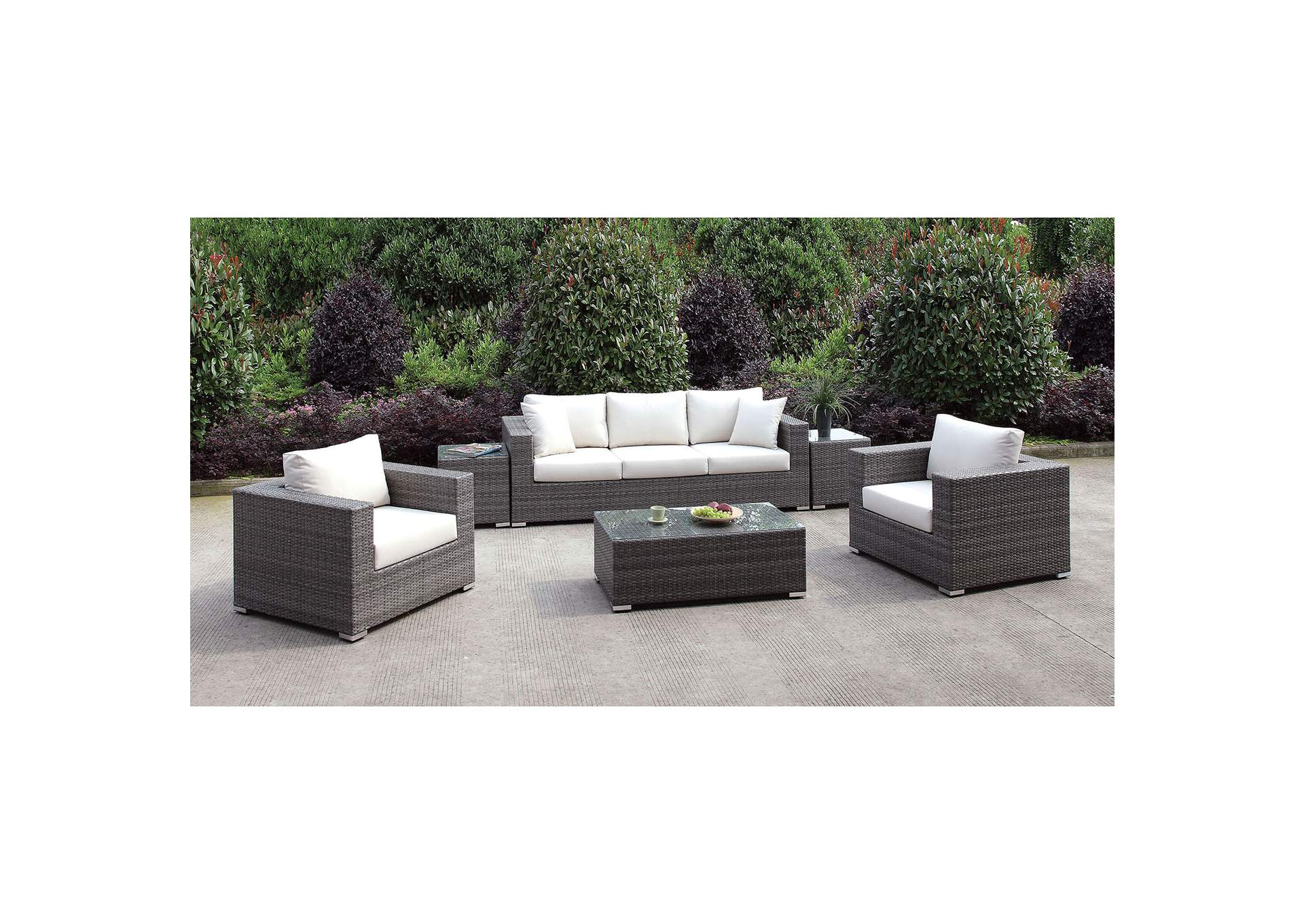 Somani Light Gray/Ivory Wicker Patio Set (Sofa, 2 Chairs, 2 End Tables & Coffee Table),Furniture of America