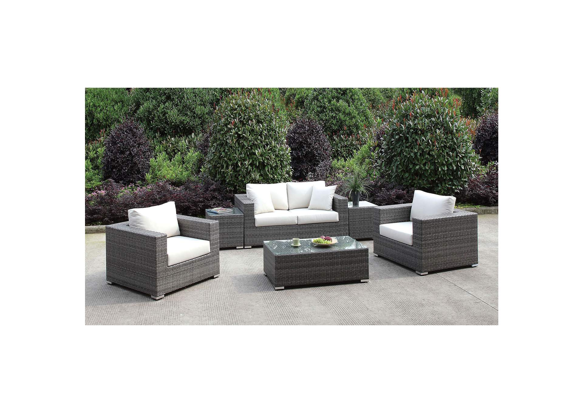 Somani Light Gray/Ivory Wicker Patio Set (Loveseat, 2 Chairs, 2 End Tables & Coffee Table),Furniture of America