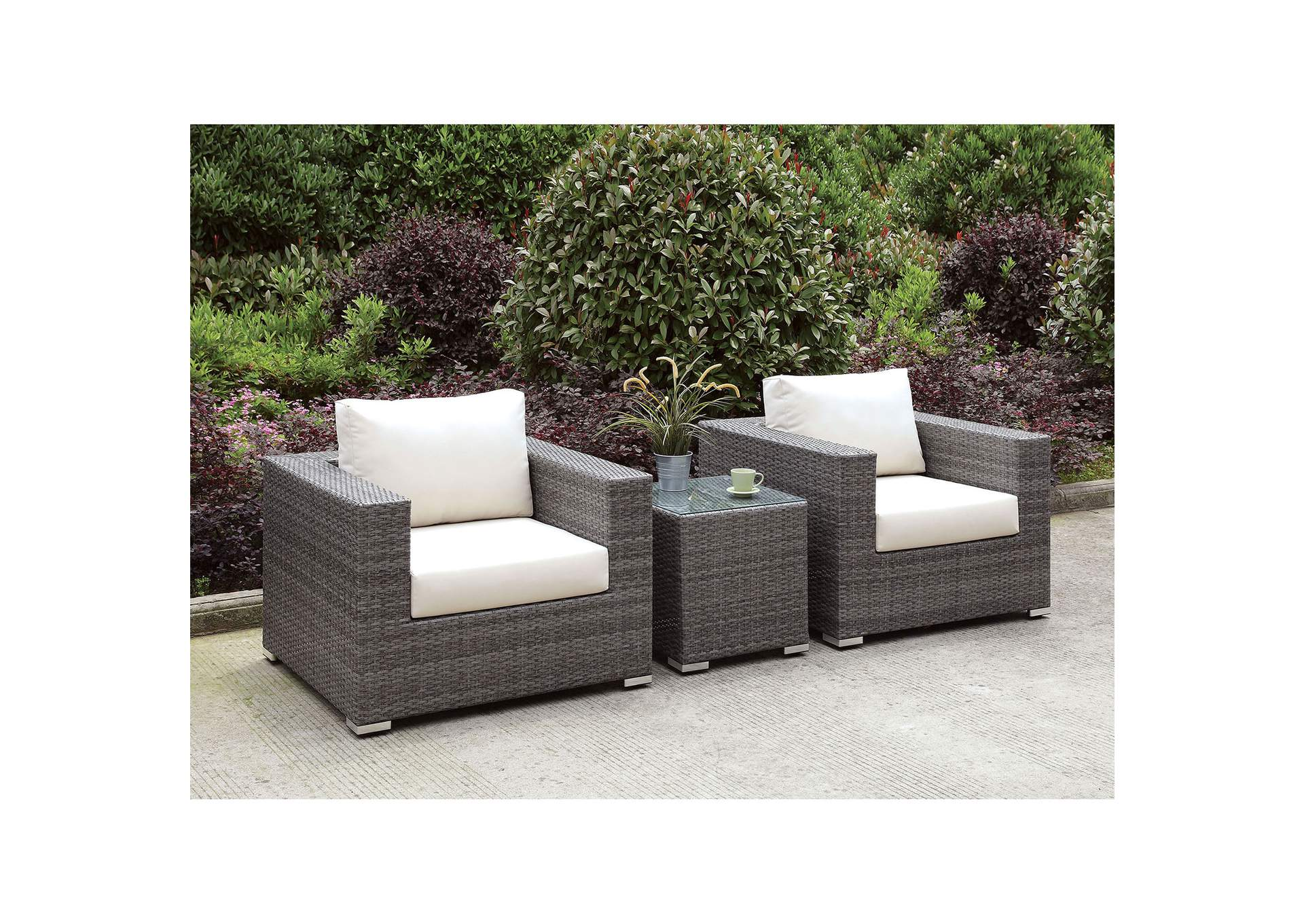Somani Light Gray/Ivory Wicker Patio Set (2 Chairs & End Table),Furniture of America