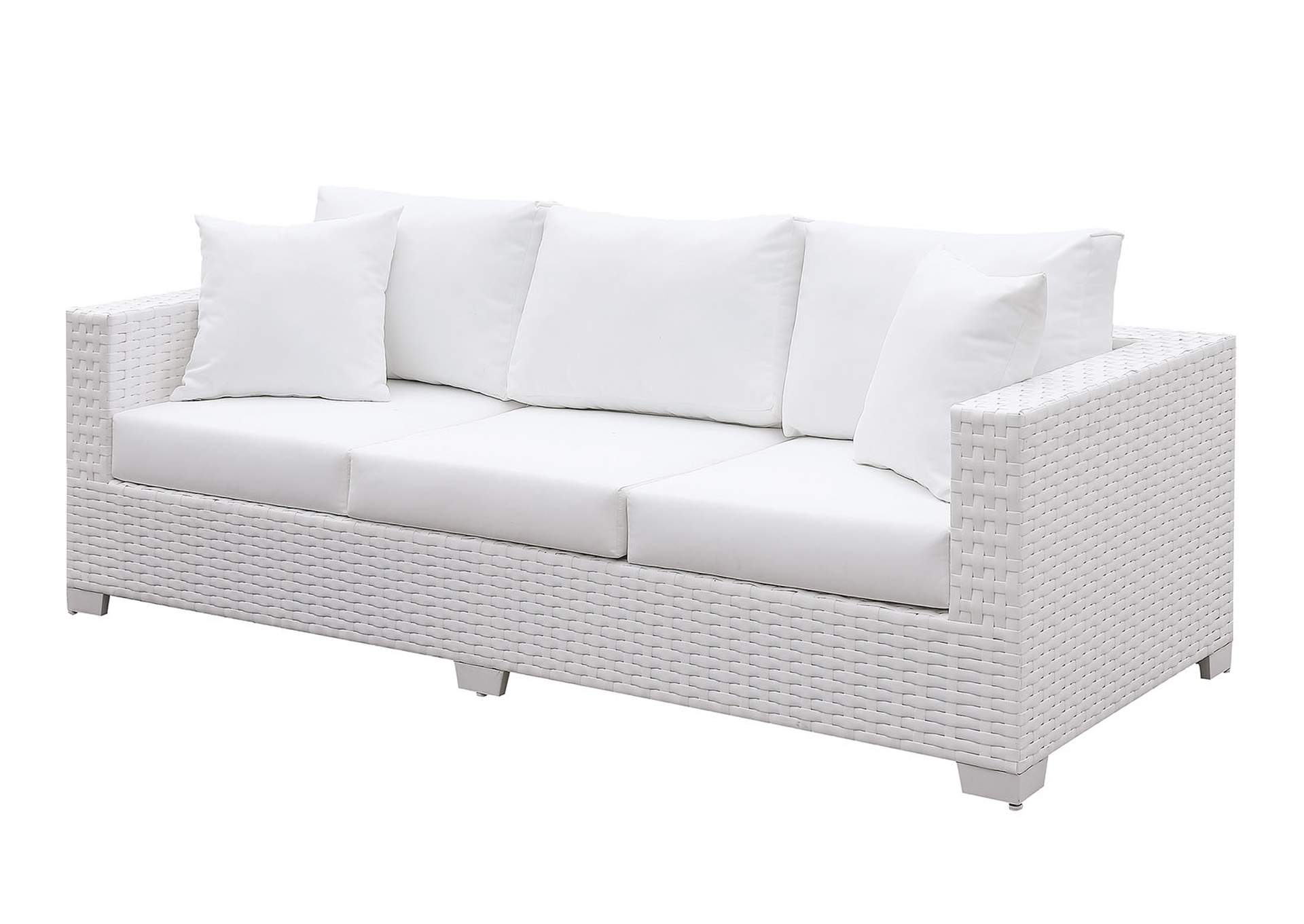 Somani White Wicker/White Cushion Sofa,Furniture of America