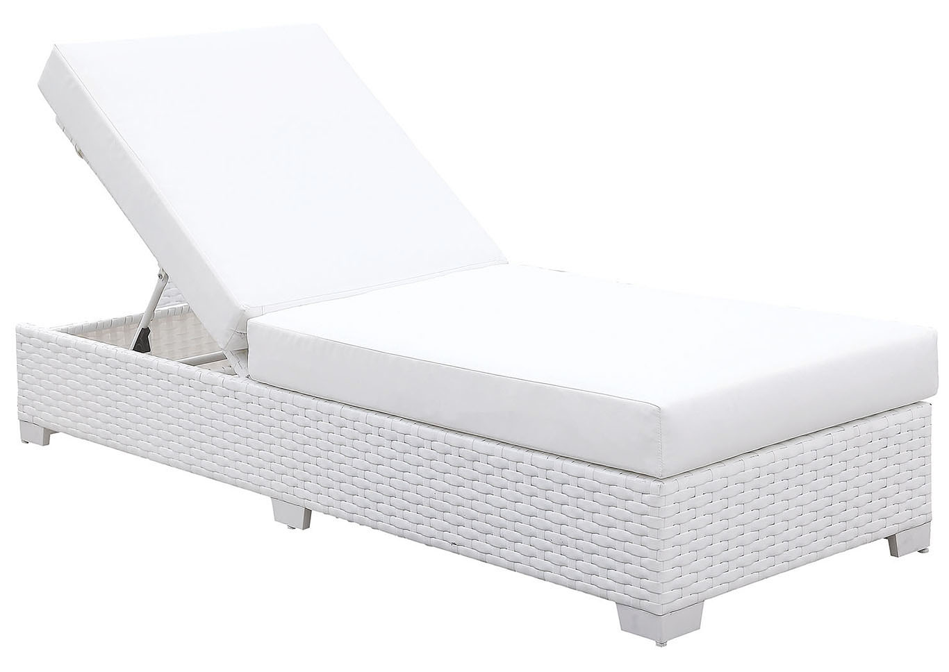 Somani White Wicker/White Cushion Chaise,Furniture of America